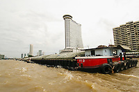 Barge traffic, Chao Phraya River, Bankok, Thailand