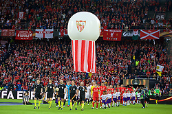 BASEL, SWITZERLAND - Wednesday, May 18, 2016: Liverpool's captain James Milner leads his side out to face Sevilla during the UEFA Europa League Final at St. Jakob-Park. (Pic by David Rawcliffe/Propaganda)