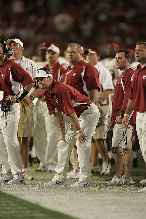University of Oklahoma head coach Bob Stoops looks on from the bench during USC's 55-19 victory over OU on January 4, 2005 in the FedEx Orange Bowl at Pro Player Stadium in Miami, Florida.