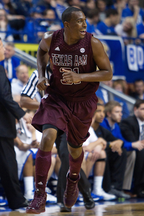 Texas A&M guard Elston Turner smiles after making a three point basket in the first half. The University of Kentucky Men's Basketball team hosted Texas A&M , Saturday, Jan. 12, 2013 at Rupp Arena in Lexington . Photo by Jonathan Palmer/Special to the Courier-Journal.