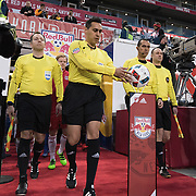 Mar 19, 2016; Harrison, NJ, USA; The Refs walking out and grabbing the game ballin the first half at Red Bull Arena. Red Bulls defeat the Dynamo 4-3. Mandatory Credit: William Hauser-USA TODAY Sports