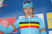 BELGIUM / ZOLDER / CYCLING / WIELRENNEN / CYCLISME / CYCLOCROSS / CYCLO-CROSS / VELDRIJDEN / WERELDBEKER / WORLD CUP / COUPE DU MONDE / JUNIORS / PODIUM / CELEBRATION / HULDIGING / YANNICK PEETERS (BEL) /