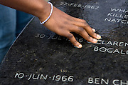 Student at monument in Montgomery, Alabama, retracing the Civil Rights Movement.