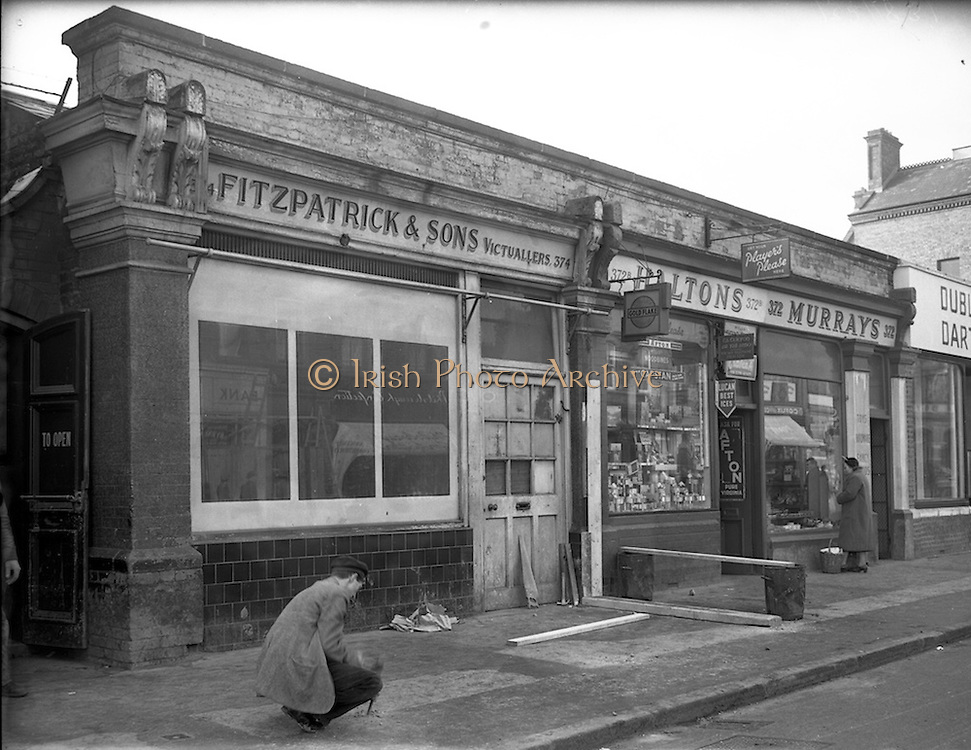 10/02/1953<br /> 02/10/1953<br /> 10 February 1953<br /> Views of the site of proposed Phibsboro Cinema (became the State Cinema) for O'Connor and Aylward Architects. Picture shows shops in the area.