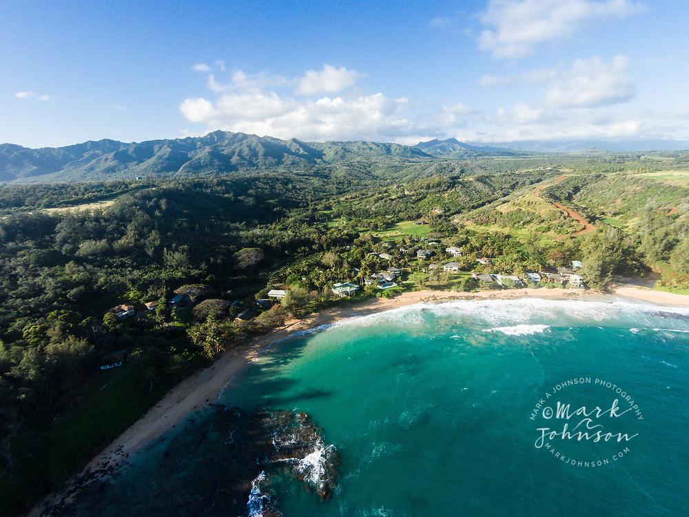 Aerial photograph of Moloa'a Bay, Kauai, Hawaii