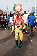 Ghana fan in full body paint with the name of Black star striker Junior Agogo oainted on his chest. Fans and supporters. Ghana V Nigeria in the Quarter final of the African Cup nations 2008. Ohene Djan stadium. Accra. Ghana. West Africa..©Picture Zute Lightfoot.  07939 108077. www.lightfootphoto.co.uk
