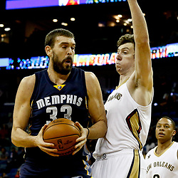 Dec 5, 2016; New Orleans, LA, USA; Memphis Grizzlies center Marc Gasol (33) is defended by New Orleans Pelicans center Omer Asik (3) during the first quarter of a game at the Smoothie King Center. Mandatory Credit: Derick E. Hingle-USA TODAY Sports