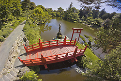 Oriental Park of MaulÈvrier (Parc oriental de MaulÈvrier) which is the biggest japanese garden in Europe. MaulÈvrier is a commune in the Maine-et-Loire department in western France. In the picture: the red bridge provides access to the islands which symbolise the Taoist Paradise, France,  July 18, 2012. Photo by Stephane Compoint / Bureau233 / i-Images...UK ONLY