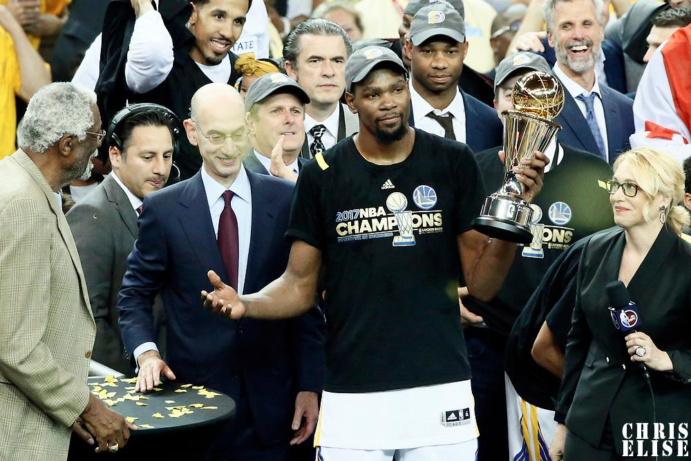 12 June 2017: Golden State Warriors forward Kevin Durant (35) is seen with the MVP trophy during the Golden State Warriors 129-120 victory over the Cleveland Cavaliers, in game 5 of the 2017 NBA Finals, at the Oracle Arena, Oakland, California, USA.