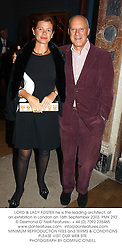 LORD & LADY FOSTER he is the leading architect, at an exhibition in London on 16th September 2003.PMK 292