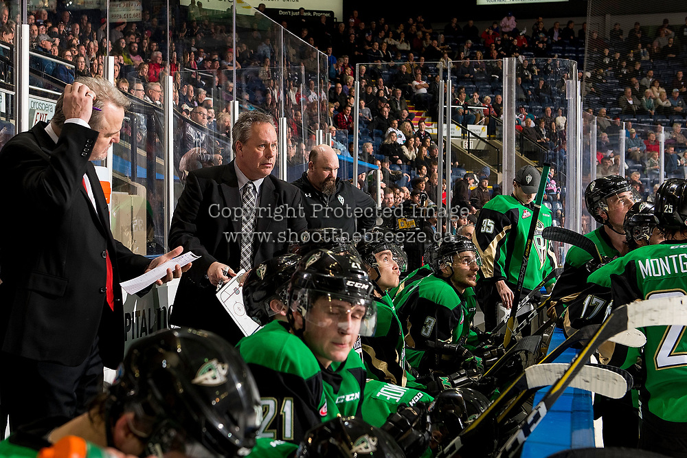 KELOWNA, BC - JANUARY 19: Prince Albert Raiders' assistant coach Jeff Truit stands on the bench against the Kelowna Rockets at Prospera Place on January 19, 2019 in Kelowna, Canada. (Photo by Marissa Baecker/Getty Images)***Local Caption***