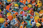 Malik Ghat wholesale flower market, Calcutta, West Bengal, India