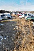 Junk yard in winter