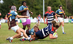 Sarah Bern of Bristol Ladies goes over the line to score a try - Mandatory by-line: Robbie Stephenson/JMP - 18/09/2016 - RUGBY - Cleve RFC - Bristol, England - Bristol Ladies Rugby v Aylesford Bulls Ladies - RFU Women's Premiership