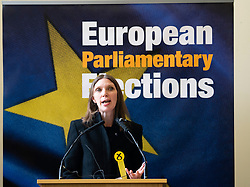 Edinburgh, Scotland, UK. 27 May, 2019. The six new Scottish MEPs are declared at the City Chambers in Edinburgh, SNP's Alyn Smith, Christian Allard and Aileen McLeod, Louis Stedman-Bruce from the Brexit Party, Sheila Ritchie of the Liberal Democrats and Baroness Nosheena Mobarik of the Conservatives.  Pictured, Aileen McLeod MEP