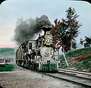 Vintage Photo Train in motion, circa 1900 hand tinted glass lantern slide.