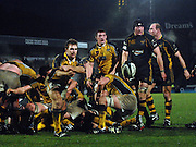 Wycombe, GREAT BRITAIN, Leeds Joe BEDFORD, moves the ball out from the back of the scrum, during the Guinness Premiership Game, London Wasps vs Leeds Carnegie, at Adams Park. 05/01/2008  [Mandatory credit Peter Spurrier/ Intersport Images].