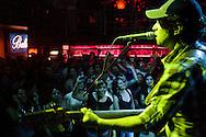 Ivis Flies of La Grupa plays at La Juliana, a top dance club in Quito, Ecuador.