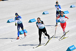 LIASHENKO Liudmyla UKR LW8, BRATIUK Natalia NPA LW8, HUDAK Brittany CAN LW8, KONASHUK Bohdana UKR LW8 competing in the ParaSkiDeFond, Para Nordic Skiing, Sprint at  the PyeongChang2018 Winter Paralympic Games, South Korea.
