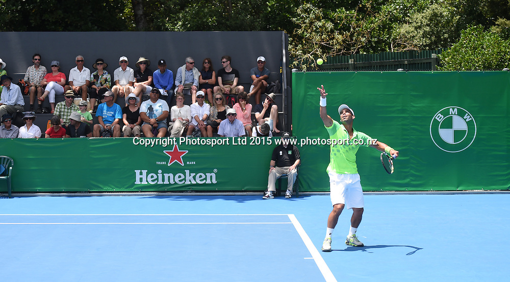 Columbia's Alejandro Falla during his first round singles match on Day 1 at the Heineken Open. Festival of Tennis, ATP World Tour. ASB Tennis Centre, Auckland, New Zealand. Monday 12 January 2015. Copyright photo: Andrew Cornaga/www.photosport.co.nz