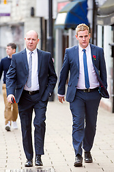 © Licensed to London News Pictures. 15/11/2017. Wakefield, UK. Corpus Christi Catholic school head teacher Steve Moat (left) & teacher Andrew Kellett (right) arrive for the third day of the Ann Maguire inquest at Wakefield Coroners Court this morning. Mrs Maguire, a 61 year old Spanish teacher, was stabbed to death by Will Cornick at Corpus Christi Catholic College in Leeds in April 2014. The school pupil, who was 15 at the time, admitted murdering Mrs Maguire and was given a life sentence later that year. Since then, some of Mrs Maguire's family have campaigned for further investigation into her death as they believe more could have been done to prevent the tragedy. Photo credit: Andrew McCaren/LNP