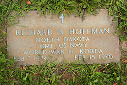 31 August 2017:   Veterans graves in Park Hill Cemetery in eastern McLean County.<br /> <br /> Richard R Hoffman North Dakota GM1 US Navy World War II Korea Feb7 1924 Feb 15 1970