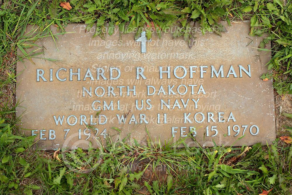 31 August 2017:   Veterans graves in Park Hill Cemetery in eastern McLean County.<br /> <br /> Richard R Hoffman North Dakota GM1 US Navy World War II Korea Feb7 1924 Feb 15 1970