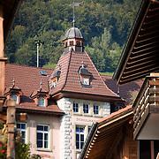 Schulhaus with clock tower, Brienz, Switzerland<br />