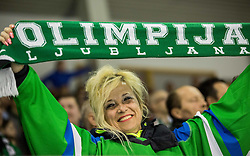 Supporter of Olimpija during ice hockey match between HDD Telemach Olimpija and HDD SIJ Acroni Jesenice in Final of Slovenian League 2015/16, on April 11, 2016 in Hala Tivoli, Ljubljana, Slovenia. Photo by Vid Ponikvar / Sportida