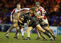 Photo: Rich Eaton.<br /> <br /> Sale Sharks v Bristol Rugby. Guinness Premiership. 01/01/2007. Magnus Lund of sale with ball attacks Bristols Roy Winters left