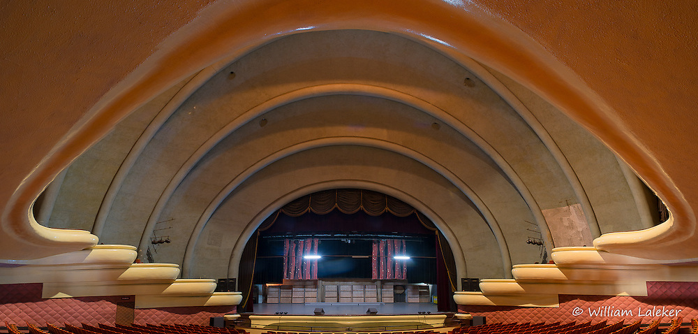 A view of the sweeping rounded Art Deco balconies that overlook the stage.