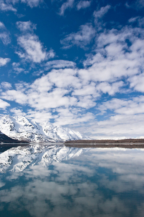 White clouds and white mounains reflect in the calm waters of Adams Inlet, Glacier Bay.