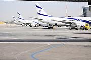 Israel, Ben-Gurion international Airport A line of El Al passenger Jets on the ground