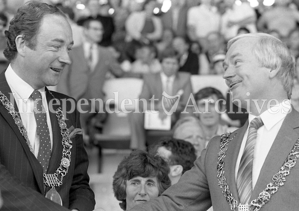 883-598<br /> All-Ireland Senior Football Championship Semi-Final Replay, Dublin v Cork, P&aacute;irc U&iacute; Chaoimh, 28th August 1983:<br /> The Lord Mayor of Dublin Michael Keating and the Lord Mayor of Cork Cllr. John Dennehy at P&aacute;irc U&iacute; Chaoimh.<br /> Pic: Liam Mulcahy, 28/8/83<br /> (Part of the Independent Newspapers Ireland/NLI Collection)