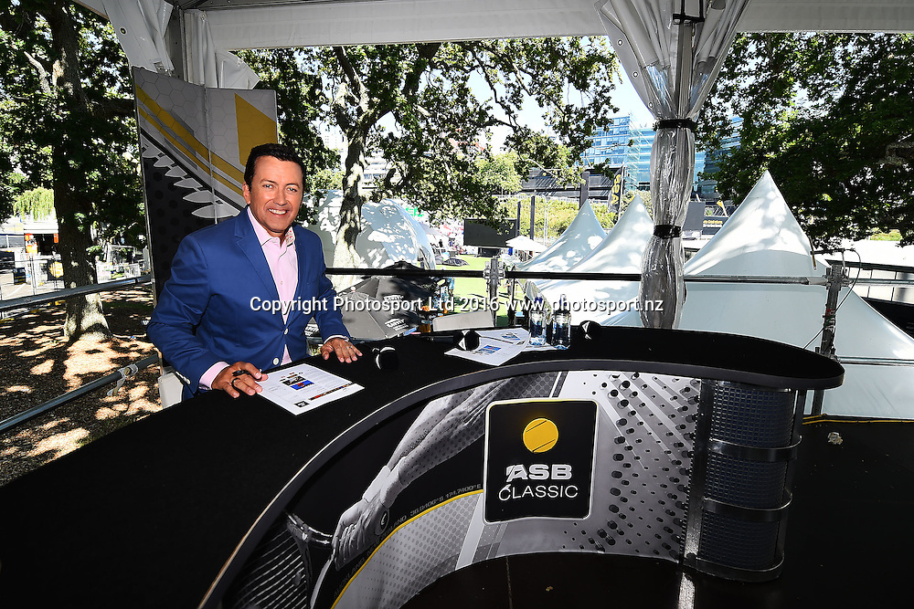 SKY Sport presenter Stephen McIvor during Day 6 Finals of the 2016 ASB Classic Mens. ASB Tennis Centre, Auckland, New Zealand. Saturday 16 January 2016. Copyright Photo: Chris Symes / www.photosport.nz
