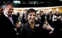 Nederland. Amsterdam, 6 oktober 2007.<br /> PvdA Congres in de RAI. Lilianne Ploumen wordt officieel gekozen tot partijvoorzitter. Links : Wouter Bos<br /> Foto Martijn Beekman <br /> NIET VOOR TROUW, AD, TELEGRAAF, NRC EN HET PAROOL