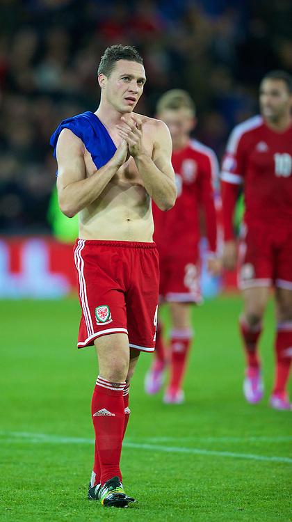 CARDIFF, WALES - Friday, October 10, 2014: Wales' James Chester after the goalless draw with Bosnia and Herzegovina during the UEFA Euro 2016 qualifying match at the Cardiff City Stadium. (Pic by David Rawcliffe/Propaganda)