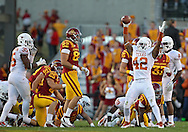 October 01, 2011: Texas Longhorns linebacker Tevin Jackson (42)comes up with a fumble on a kickoff during the first half of the game between the Iowa State Cyclones and the Texas Longhorns at Jack Trice Stadium in Ames, Iowa on Saturday, October 1, 2011. Texas defeated Iowa State 37-14.