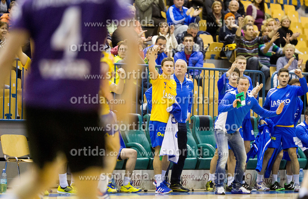 Rok Zuran of Celje and other players of Celje celebrate during handball match between RK Celje Pivovarna Lasko and RK Maribor Branik in 11th Round of 1st NLB Leasing League 2013/14 on November 13, 2013 in Arena Zlatorog, Celje, Slovenia. Photo by Vid Ponikvar / Sportida