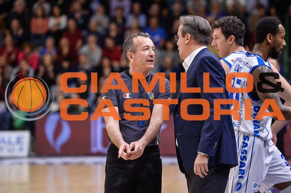Massimiliano Filippini, Federico Pasquini<br /> Banco di Sardegna Dinamo Sassari - Betaland Capo D'Orlando<br /> Legabasket Serie A LBA Poste Mobile 2016/2017<br /> Sassari 15/04/2017<br /> Foto Ciamillo-Castoria