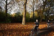 In Utrecht rijden fietsers langs het Julianapark waar de bomen mooie herfstkleuren hebben. Een meisje heeft haar telefoon in handen, een man is aan het bellen tijdens het fietsen.<br /> <br /> In Utrecht cyclists pass the Juliana park with trees in autumn colors.