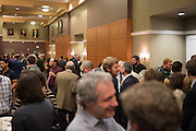 Attendees to the Distinguished Professor Ceremony gather for a reception outside of Ohio University's Baker Center Ballroom on Monday, February 20, 2017.