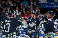 KELOWNA, CANADA - APRIL 22: Mathew Barzal #13 and Ethan Bear #25 of Seattle Thunderbirds celebrate a goal against the Kelowna Rockets on April 22, 2016 at Prospera Place in Kelowna, British Columbia, Canada.  (Photo by Marissa Baecker/Shoot the Breeze)  *** Local Caption *** Mathew Barzal; Ethan Bear;