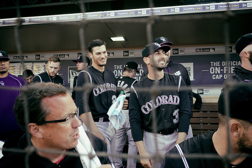 San Diego, CA - JUNE 04:   Nolan Arenado prepares for game time in the dugout at Petco Park during game with the San Diego Padres San Diego, California.  (Sandy Huffaker for ESPN)