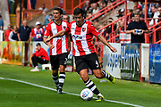 Lloyd James (4) of Exeter City on the attack during the EFL Sky Bet League 2 match between Exeter City and Cambridge United at St James' Park, Exeter, England on 5 August 2017. Photo by Graham Hunt.