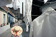 Cour&eacute;e, rue de l'&Eacute;peule, Roubaix, Nord-Pas-de-Calais, France.<br /> Cottages in  the Epeule's street, town of Roubaix, Nord-Pas-de-Calais region, France.
