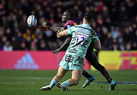 Rugby Union - 2019 / 2020 Gallagher Premiership - Harlequins vs. Gloucester<br /> <br /> Harlequins' Gabriel Ibitoye offloads despite the attentions of Gloucester's Mark Atkinson, at The Stoop.<br /> <br /> COLORSPORT/ASHLEY WESTERN