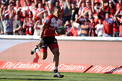 Courtnall Skosan during the semi final of the Vodacom Super Rugby 2016 season between the Lions and the Highlanders held at the Emirates Airline Park in Johannesburg, South Africa on the 30th July 2016<br /> <br /> Photo by Real Time Images