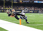 Nov 4, 2018; New Orleans, LA, USA: New Orleans Saints fullback Zach Line (42) gets pushed out of bounds by Los Angeles Rams inside linebacker Cory Littleton (58) before the goal line at the Mercedes-Benz Superdome. The Saints beat the Rams 45-35. (Steve Jacobson/Image of Sport)