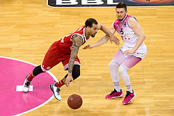 28.03.2016, Telekom Dome, Bonn, GER, Beko Basketball BL, Telekom Baskets Bonn vs FC Bayern Muenchen, 23. Runde, im Bild Justin Cobbs (FC Bayern Muenchen #10) beim Dribbling gegen Rotnei Clarke (Telekom Baskets Bonn #15) // during the Beko Basketball Bundes league 23th round match between Telekom Baskets Bonn and FC Bayern Munich at the Telekom Dome in Bonn, Germany on 2016/03/28. EXPA Pictures © 2016, PhotoCredit: EXPA/ Eibner-Pressefoto/ Schüler<br /> <br /> *****ATTENTION - OUT of GER*****